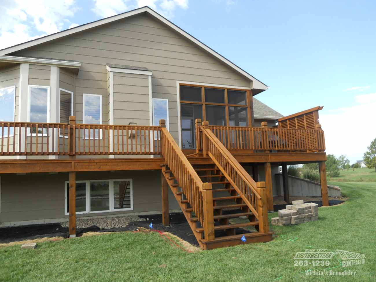 Home Remodeling Wrap Around Redwood Deck With Screened Sitting Room